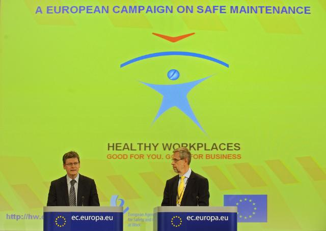 Joint press conference by László Andor, Member of the EC, and Jukka Takala, Director of the EU-OSHA, on the occasion of the launch of the Healthy Workplaces Campaign on Safe Maintenance