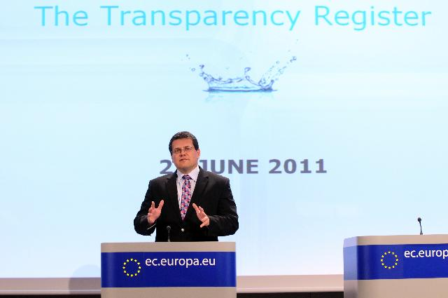 Press conference by Maroš Šefčovič, Vice-Président of the CE, on the launch of a joint transparency register for lobbyists and NGOs