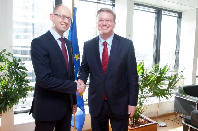 Visite d'Arseni Iatseniouk, ancien président du Parlement ukrainien et chef du parti politique