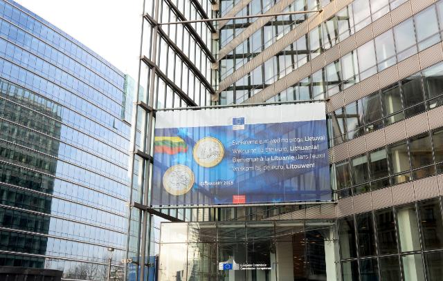 The banner on the Berlaymont and Charlemagne building for the Introduction of the euro in Lithuania - 1 January 2015
