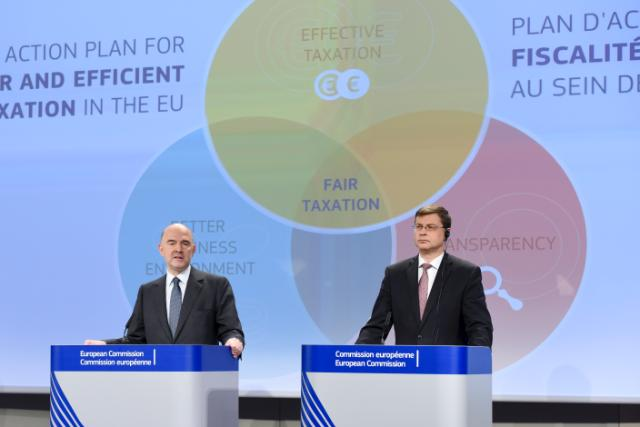 Joint press conference by Valdis Dombrovskis, Vice-President of the EC, and Pierre Moscovici, Member of the EC, on the presentation of an Action Plan for Fair and Efficient Corporate Taxation in the EU