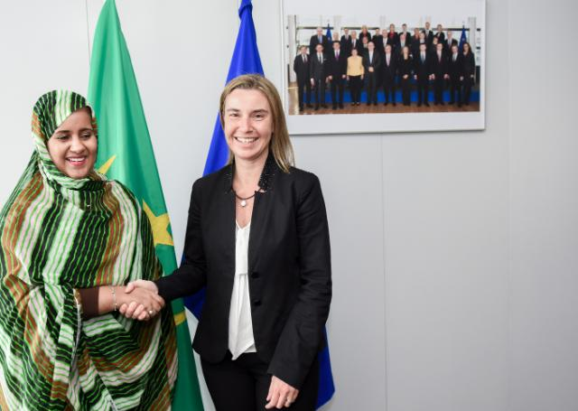 Federica Mogherini receives Vatma Vall Mint Soueina,  Mauritanian Minister for Foreign Affairs and Cooperation