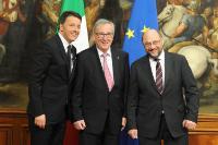 Participation de Jean-Claude Juncker, président de la CE, Donald Tusk, président du Conseil européen, et Martin Schulz, président du PE, à un débat sur 'L'état de l'Union européenne'