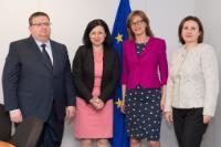 Visite de Rumyana Bachvarova, vice-Premier ministre bulgare à la Politique de coalition et à l'Administration publique et ministre de l'Intérieur, Ekaterina Zaharieva, ministre bulgare de la Justice, et Sotir Tsatsarov, procureur général bulgare, à la CE