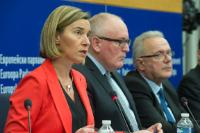 Joint press conference by Frans Timmermans and Federica Mogherini, Vice-Presidents of the EC, and Neven Mimica, Member of the EC, on the proposal of the EC for a new European Consensus on Development
