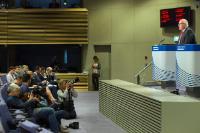 Conférence de presse sur les conclusions de la réunion hebdomadaire du collège de la CE présentées par Frans Timmermans, premier vice-président de la CE