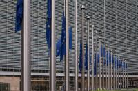 European flags fly at half-mast to pay tribute to the victims of the terrorist attacks in Barcelona and Cambrils, in Spain