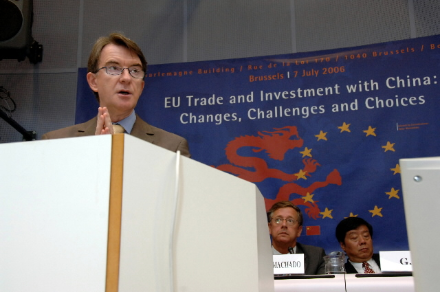 Peter Mandelson, Member of the EC, at the Conference on EU Trade and Investment with China
