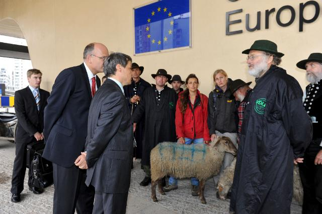 Arrival of a flock of sheep at the Berlaymont in the framework of the International Year of Biodiversity