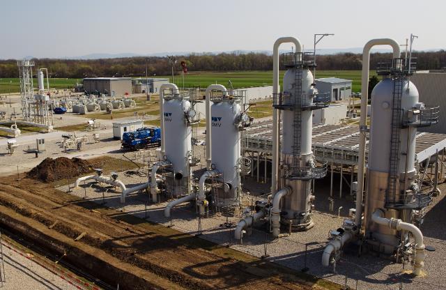 L'usine de distribution de gaz naturel de Baumgarten en  Autriche