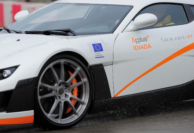 Presentation of the Volar-e, one of the most innovating cars, during the Formule 1 test in Barcelona, with the participation of Antonio Tajani, Vice-President of the EC