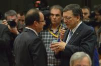 Discussion between François Hollande, President of the French Republic, and José Manuel Barroso (in the foreground, from left to right)