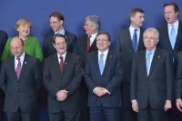 Extract from the group photo, from left to right,in the 1st row: Traian Băsescu, President of Romania, Nicos Anastasiades, President of Cyprus, José Manuel Barroso and Mario Monti, Italian Prime Minister; Minister for Economy and Finance,in the 2nd row: Angela Merkel, German Federal Chancellor, Jyrki Katainen, Finnish Prime Minister, Werner Faymann, Austrian Federal Chancellor, Andrus Ansip, Estonian Prime Minister, and David Cameron, British Prime Minister