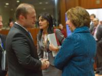 Discussion between Joseph Muscat, Maltese Prime Minister, and Catherine Ashton (in the foreground, from left to right)