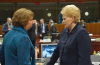 Discussion between Dalia Grybauskaitė, President of Lithuania, on the right, and Catherine Ashton