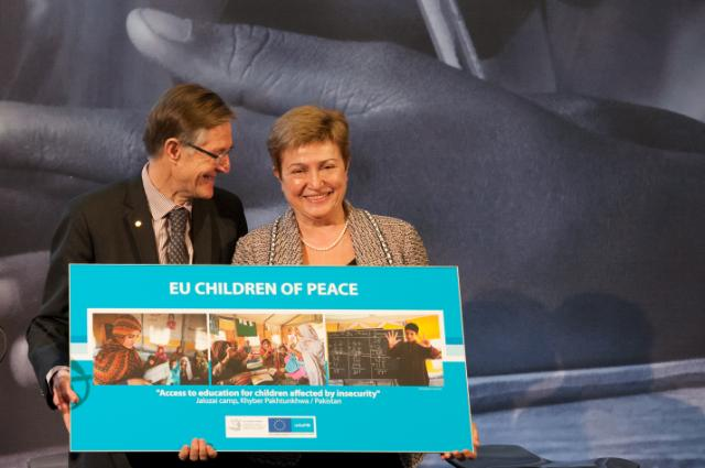 Vernissage de l'exposition 'EU Children of Peace', avec la participation de Kristalina Georgieva, membre de la CE