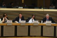 Daniela Rondinelli, Member of the European Economic and Social Committee (EESC), Peter Molengraaf, Chairman of the Management Board and CEO of Alliander, Alain Flausch, Secretary General of the International Association of Public Transport (UITP), and Michel Crochon, Director-General in charge of the