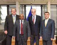 Visit of Ajay K. Bramdeo, Head of Mission of the African Union to the EU, Tadeous T. Chifamba, Head of Mission of Zimbabwe to the EU, and Hanno Rumpf, Head of Mission of Namibia to the EU, to the EC