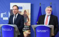 "Illustration of ""Joint press conference by Tibor Navracsics, Member of the EC, and Franz Fischler, President of the EU..."
