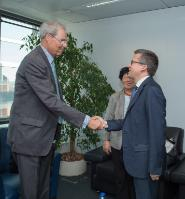"""Illustration of """"Visit of Wolfgang Schürer, Chairman of the Board of the 'Foundation Lindau Nobelprizewinners Meetings at..."""