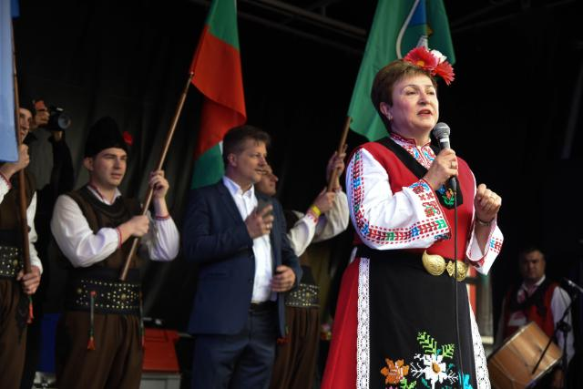 """Illustration of """"Participation of Kristalina Georgieva at the Grand Horo Dance on Brussels Grand Place, taking place for a..."""