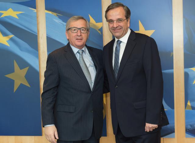 "Illustration of ""Jean-Claude Juncker receives Antonis Samaras, former Greek Prime Minister"""