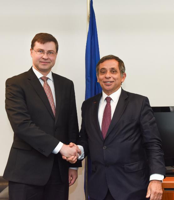 Meeting between Henri Malosse, President of the EESC, and Valdis Dombrovskis, Vice-President of the EC