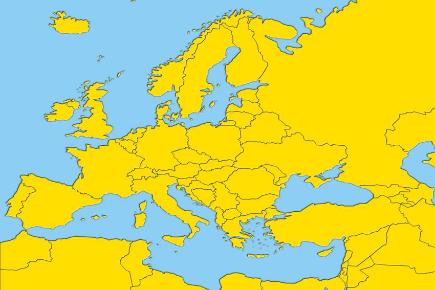 Cartes géographiques historiques de l'Europe, de l'UE et des pays candidats