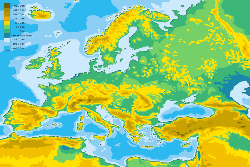 Elevation Map Of Europe Thefreebiedepot - Map showing altitude