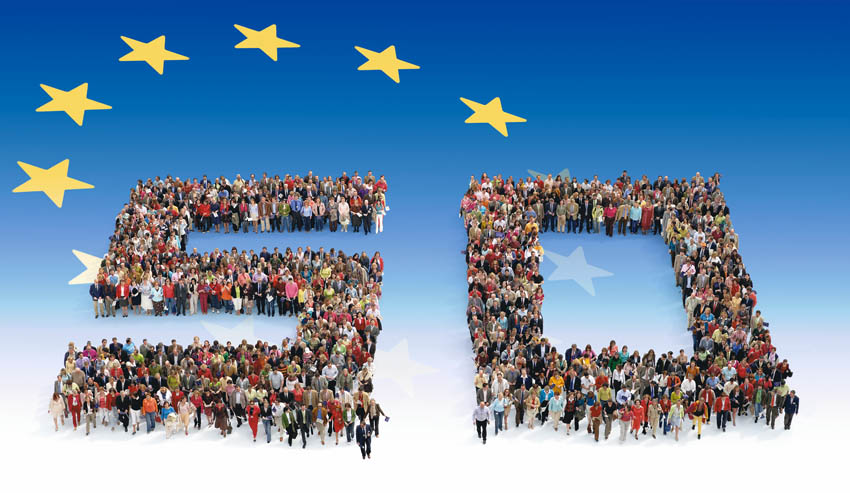 The human number 50 to celebrate the European Union's fiftieth anniversary