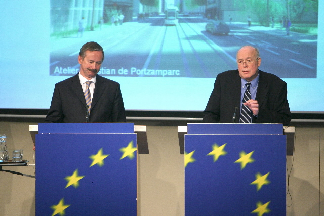 Joint press conference by Siim Kallas and Charles Picqué annoucing the winner of the Brussels urban planning competition for the European quarter