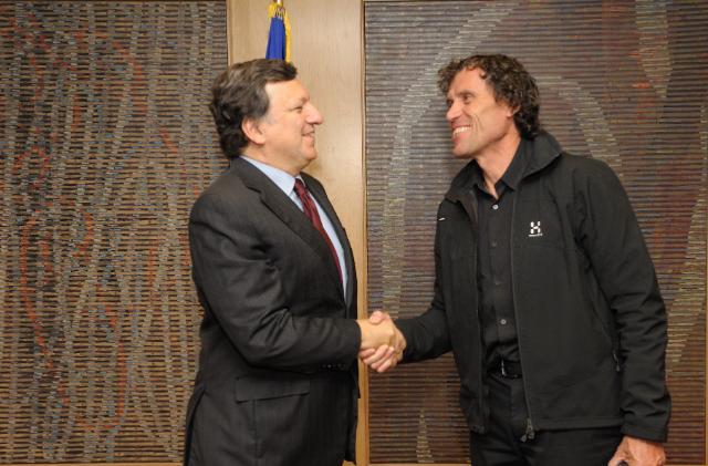 Visit of Alain Hubert, Belgian polar explorer, mountain guide and entrepreneur, to the EC
