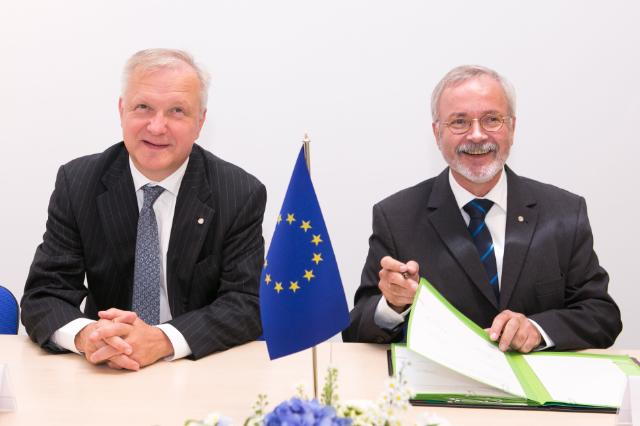 Olli Rehn, Johannes Hahn, Algirdas Šemeta and  Michel Barnier at the Informal Meeting of Ministers for Economic and Financial Affairs (ECOFIN)