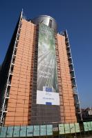 The Berlaymont building with a banner: