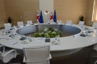 The round table in the meeting room of the State Chancellery
