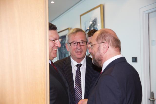 Rencontre entre Martin Schulz, président du PE, José Manuel Barroso, président de la CE, et Jean-Claude Juncker, président élu de la CE