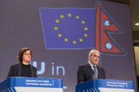 Christos Stylianides, on the right, and Catherine Ray, Lead Spokesperson of the European External Action Service (EEAS)