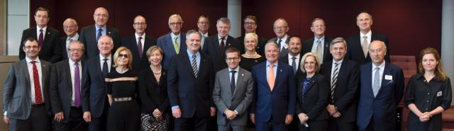"Illustration of ""Valdis Dombrovskis and Carlos Moedas receive a high level business delegation led by Mathias Cormann,..."
