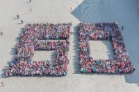 The human number 60 to celebrate the 60th anniversary of the Treaties of Rome