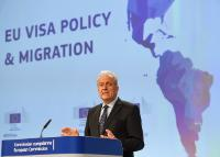 Press conference by Dimitris Avramopoulos, Member of the EC, on progress made under the European Agenda on Migration, on the report on progress achieved on the Migration agenda and Revision of the common visa code