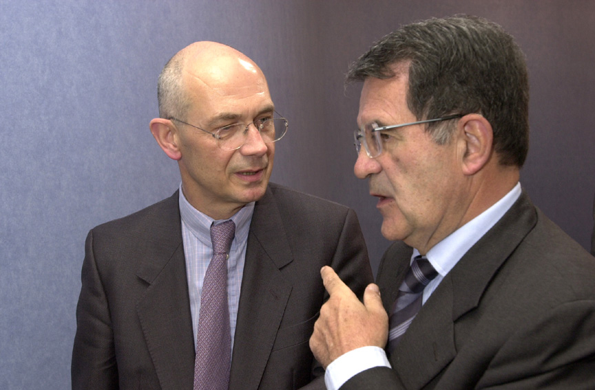 Pascal Lamy, Member of the EC, and Romano Prodi, President of the EC