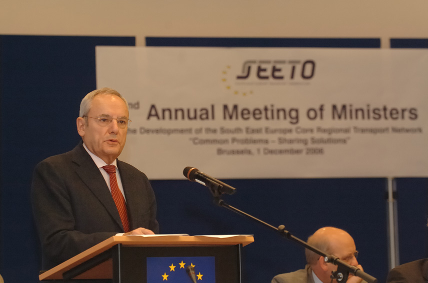 Jacques Barrot, Vice-President of the EC at the second annual ministerial meeting on the development of the South East Europe Regional Transport Core Network