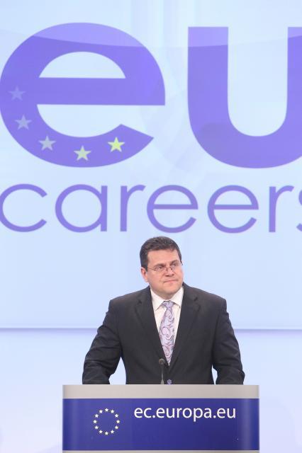 Conférence de presse de Maroš Šefčovič, vice-président de la CE, sur le lancement d'une nouvelle procédure de sélection des fonctionnaires de l'UE