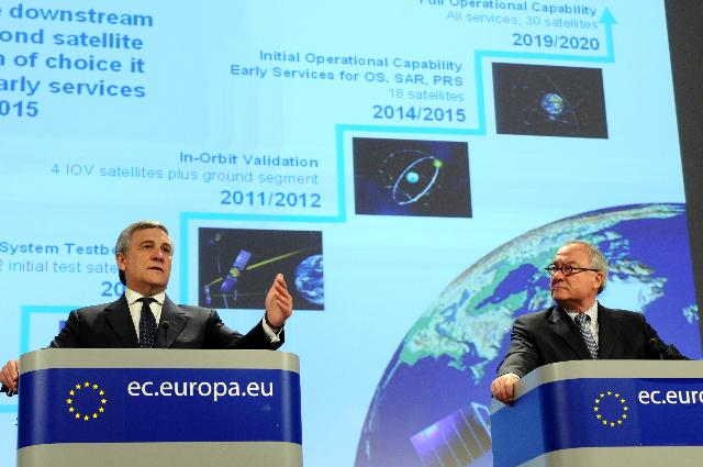 Joint press conference by Antonio Tajani, Vice-President of the EC, and Jean-Jacques Dordain, Director-General of ESA, on the take off of the Galileo EU satellites
