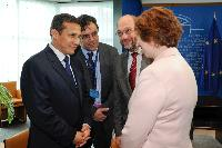 Meeting between Ollanta Humala, President of Peru, Martin Schulz, President of the EP, and Catherine Ashton, Vice-President of the EC
