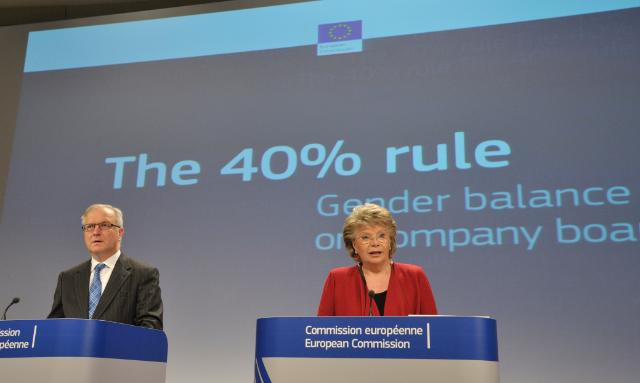Joint press conference of Viviane Reding and Olli Rehn, Vice-Presidents of the EC, on the proposal of the EC on increasing Gender Equality in the Boardrooms of Listed Companies