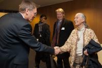 Visite à la CE de Jane Goodall, fondatrice de l'institut Jane Goodall, messagère de la paix des Nations unies en 2002