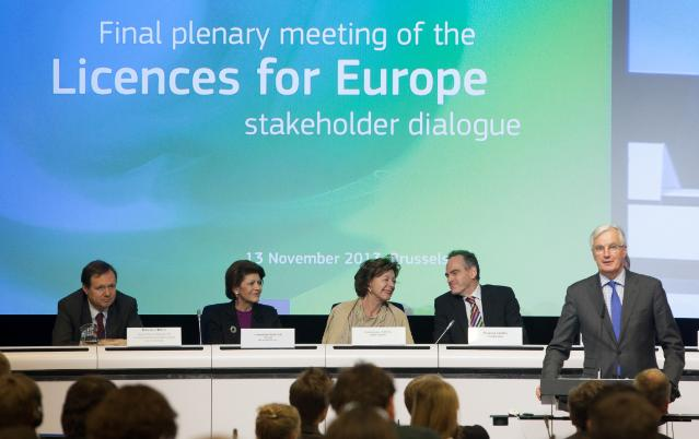 Participation of Neelie Kroes, Vice-President of the EC, Androulla Vassiliou and Michel Barnier, Members of the EC, in the final plenary meeting of the 'Licences for Europe' stakeholder dialogue