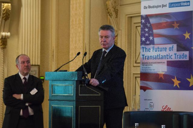 Karel de Gucht gives a speech during a conference on the Future of Transatlantic Trade