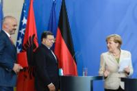 Edi Rama, José Manuel Barroso and Angela Merkel (from left to right)